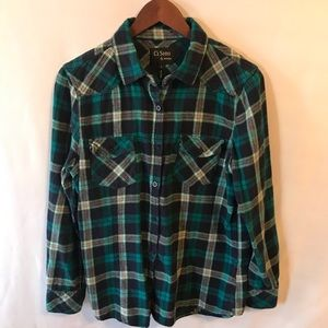 Ci Sono by Cavalini Large teal flannel shirt